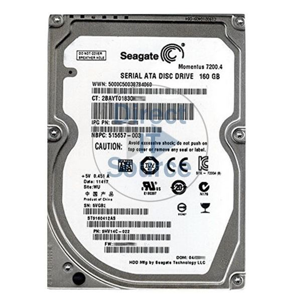 "HP 515657-003 - 160GB 7.2K SATA 3.0Gbps 2.5"" Hard Drive"