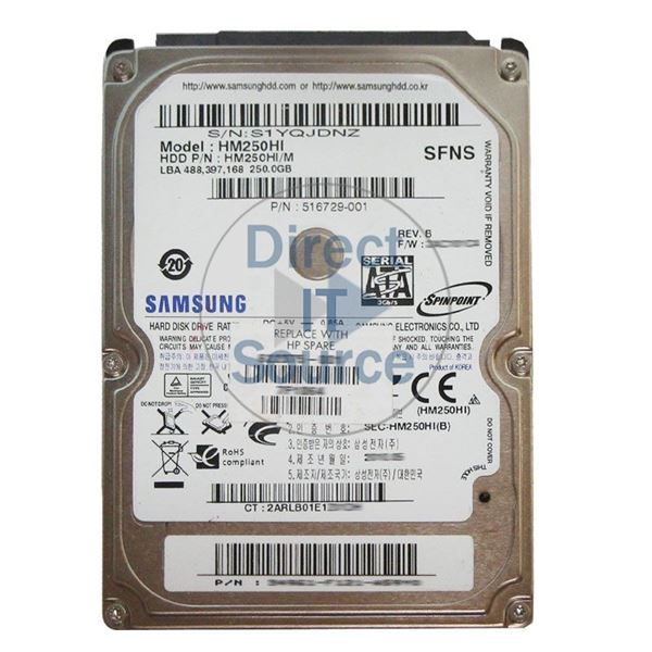 "HP 516729-001 - 250GB 5.4K SATA 2.5"" Hard Drive"