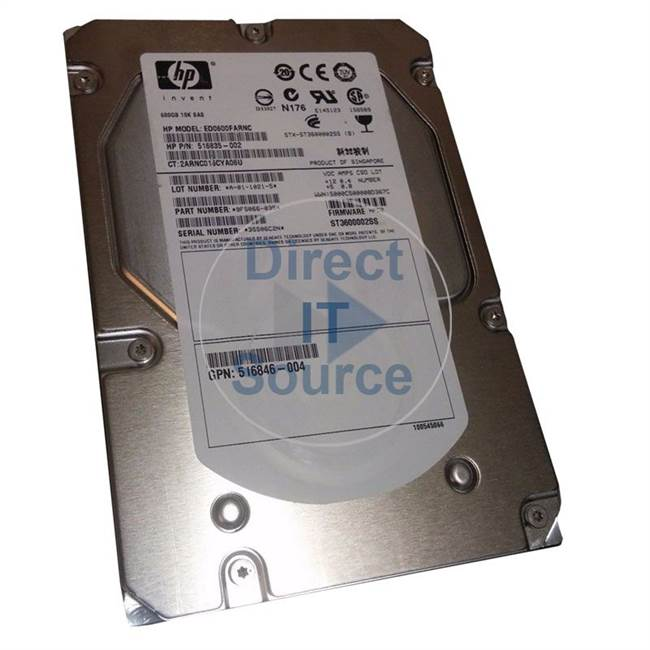 HP 516846-004 - 600GB 10000RPM 3.5Inch SAS 6Gb/S Hard Drive