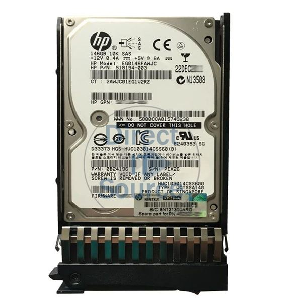 "HP 518194-003 - 146GB 10K SAS 2.5"" Hard Drive"