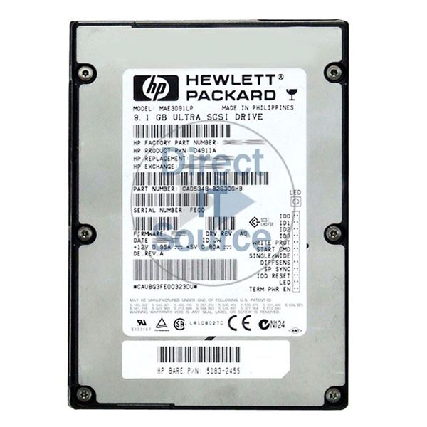 "HP 5183-2455 - 9.1GB 7.2K 68-PIN Ultra SCSI 3.5"" Hard Drive"