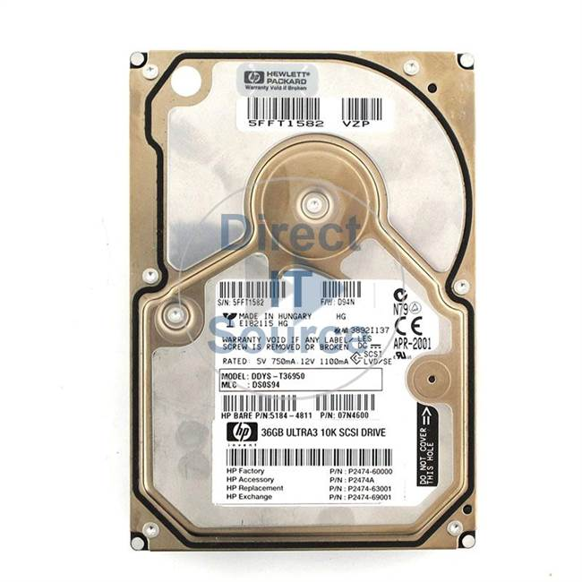 HP 5184-4811 - 36.4GB 10000RPM Ultra-160 SCSI Low Profile Hot Pluggable Hard Drive