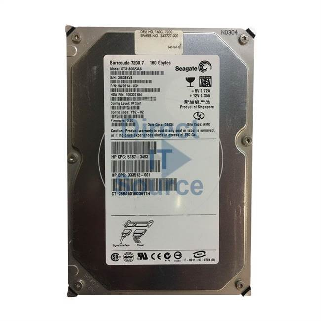 HP 5187-3493 - 160GB 7200Rmp SATA 3.5Inch Hard Drive