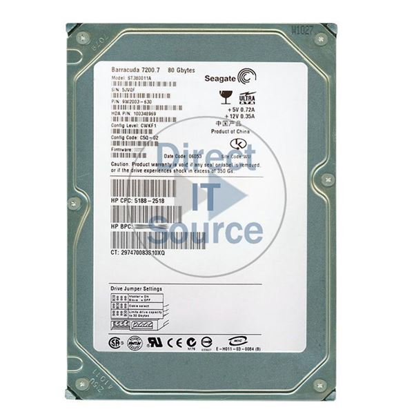 "HP 5188-2518 - 80GB 7.2K IDE 3.5"" Hard Drive"