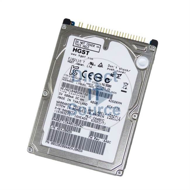 "Hitachi HEJ421040G9AT00 - 40GB 4.2K  2.5"" Cache Hard Drive"