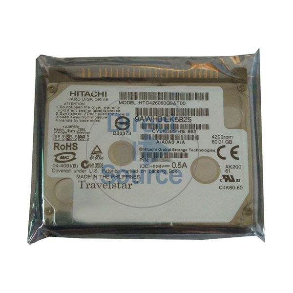 Hitachi HTC426060G9AT00 - 60.01GB 4.2K IDE 1.8Inch 2MB Cache Hard Drive