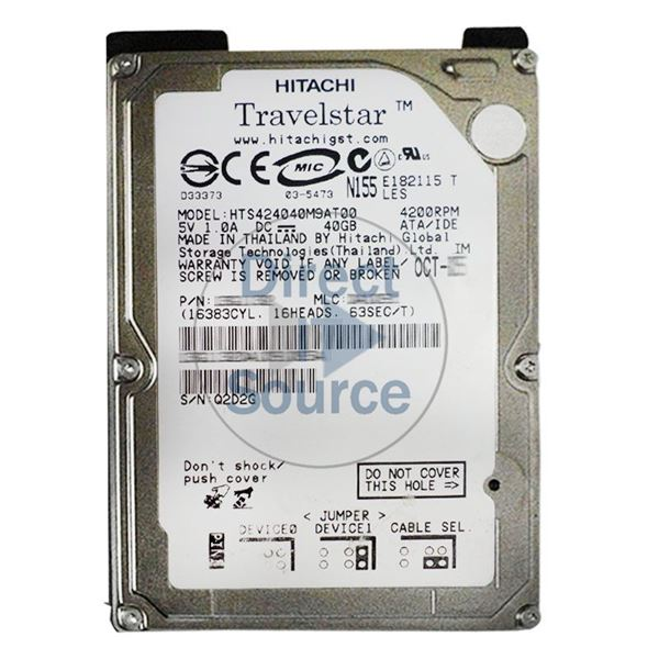 Hitachi HTS424040M9AT00 - 40GB 4.2K IDE 2.5Inch 2MB Cache Hard Drive