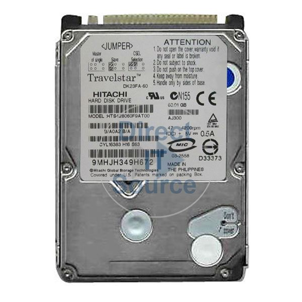 "Hitachi HTS428060F9AT00 - 60.1GB 4.2K IDE 2.5"" 8MB Cache Hard Drive"