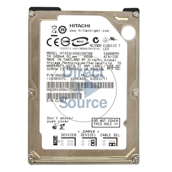 Hitachi HTS541660J9AT00 - 60GB 5.4K IDE 2.5Inch 8MB Cache Hard Drive