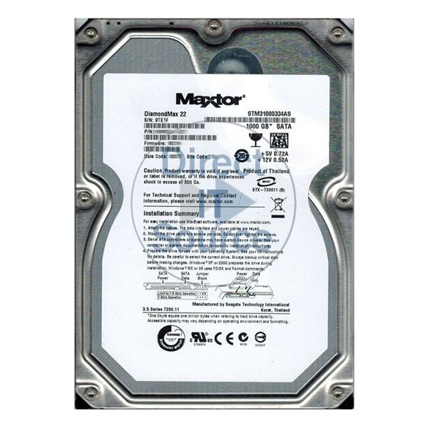 "Maxtor STM31000334AS - 1000GB 7.2K SATA 3.0Gbps 3.5"" 32MB Cache Hard Drive"