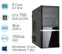 CAD WORKSTATION -  i5-6500 | 8GB DDR4 | 250GB SSD | Nvidia GTX750 2GB | Win 7/10 Pro