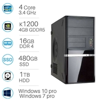 CAD WORKSTATION - i7-6700 | 16GB DDR4 | 480GB SSD+1TB | Quadro K1200 4GB | Win 7/10 Pro