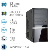 CAD WORKSTATION - i9-7920x | 48GB DDR4 | 1TB SSD+4TB | Quadro M4000 8GB | Win 10 Pro