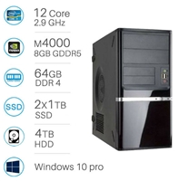 CAD WORKSTATION - i9-7920x | 64GB DDR4 | 2x1TB SSD+4TB | Quadro M4000 8GB | Win 10 Pro