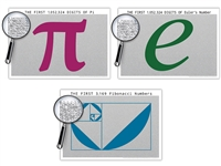 Three 19 x 13 Inch Math Poster Bundle - Pi / Euler's Number / Fibonacci