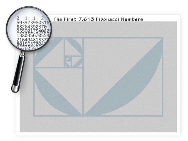 The Seven-Thousand Fibonacci Numbers Poster displays more than the first 7,000 Fibonacci Numbers, printed at a microscopic size to all fit in a 24 x 18 inch color poster.