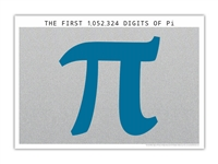 The One Million Digits of Pi Poster - Optional Magnifier - Many Colors - 19 x 13 Inches