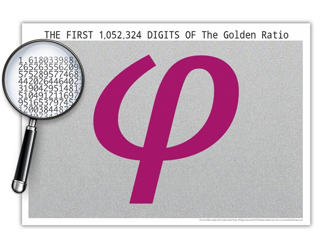 The One Million Digits of the Golden Ratio Poster - Optional Magnifier - Many Colors - 19 x 13 Inches