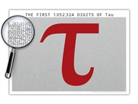 The One Million Digits of Tau Poster - Optional Magnifier - Many Colors - 19 x 13 Inches