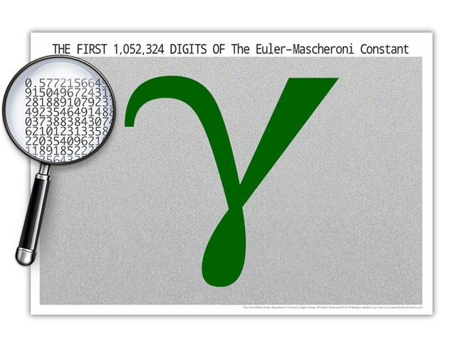 The One Million Euler-Mascheroni Constant Digits Poster - Optional Magnifier - Many Colors - 19 x 13 Inches