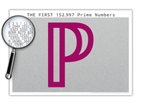 The One-Hundred Fifty Thousand Prime Numbers Poster - Almost One Million Digits - Optional Magnifier - Many Colors - 19 x 13 Inches