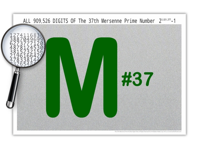 The 37th Mersenne Prime Number Digits Poster - 19 x 13 Inches