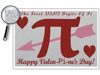 The Valentine's Day Pi Digits Poster - Optional Magnifier - Many Colors - 19 x 12.5 Inches