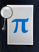 The Half Million Digits of Pi Poster - Metallic Ice Edition - Optional Magnifier - 12.5 x 19 Inches