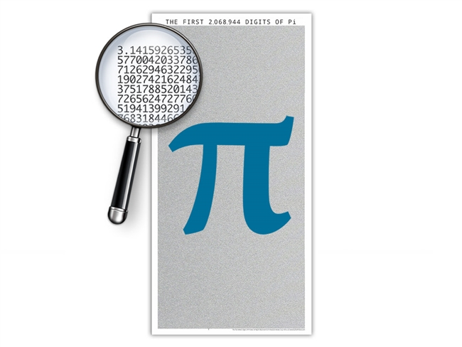 The Two Million Digits of Pi Poster - Optional Magnifier - Many Colors - Portrait Orientation - 13 x 26 Inches