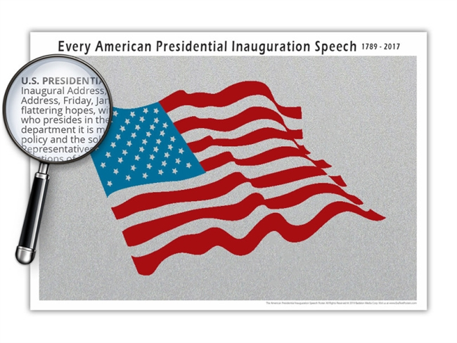 The American Presidential Inauguration Speech Poster - Almost One Million Characters - Optional Magnifier - 19 x 13 Inches