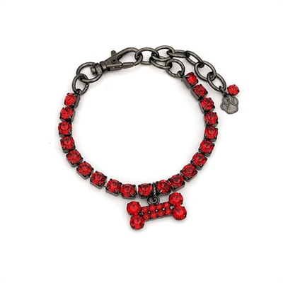 gunmetal dog necklace with red crystal bone