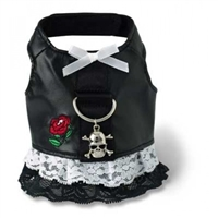 Black Faux Leather Biker Dog Harness Dress with Lace