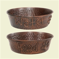 food and water hammered copper dog bowls