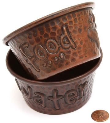 mini 4 inch hammered copper food and water dog bowls