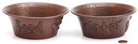 small 5 inch hammered copper food and water dog bowls