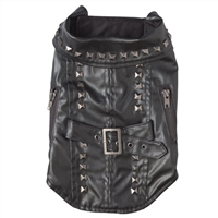 black pleather biker dog jacket