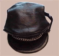 black leather biker dog hat