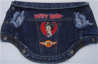 betty boop born wild biker dog denim jean jacket