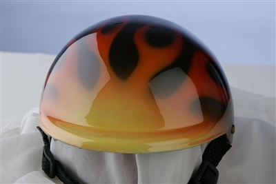 airbrushed flames dog helmet