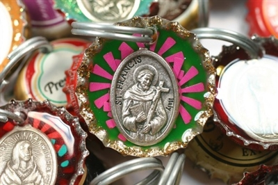 st francis bottle cap dog collar charm