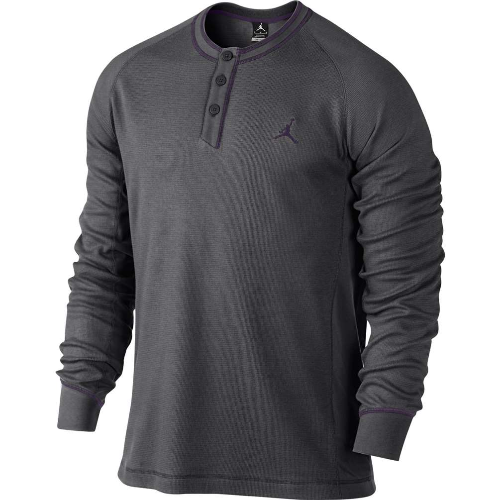 Jordan Button Up Long Sleeve Henley Shirt - Dark Grey