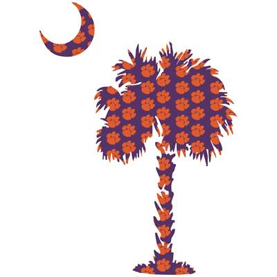 Clemson Decal Palm Moon With Paws