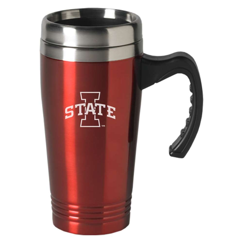 iowa state cylcones engraved 16oz stainless steel travel mug red. Black Bedroom Furniture Sets. Home Design Ideas