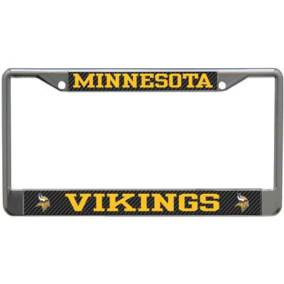 Minnesota Vikings Metal License Plate Frame Carbon Fiber