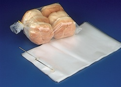 7.25x13.125x2.5 Wicketed Commercial Grade 1.25 mil thickness Poly Bakery Bags, 8043