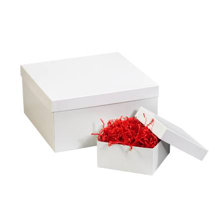 "8 x 8"" White Deluxe Gift Box Lids"