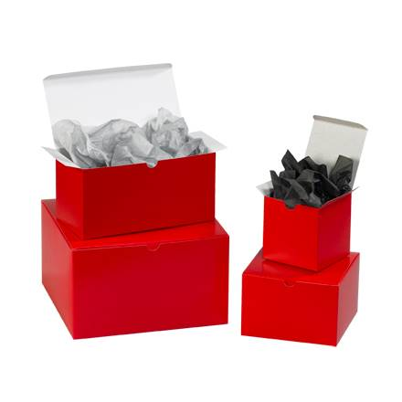 "10 x 10 x 6"" Holiday Red Gift Boxes"