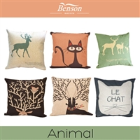 Animal Linen Cushion Cover