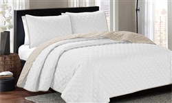 ARDOR EMBOSSED COVERLET WHITE/LATTE