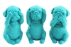Dog set of 3 aqua